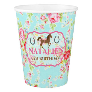 Shabby Chic Cowgirl Floral Pony Paper Cup
