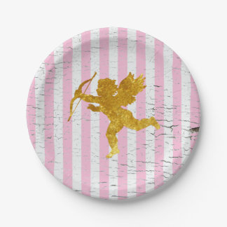 Shabby Chic Cupid on Stripes Paper Plate