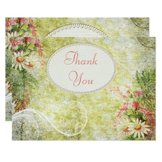 Shabby Chic Daisy & Wildflowers Thank You Card