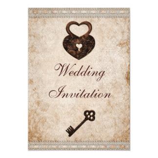 "Shabby Chic Damask Hearts Lock and Key Wedding 5"" X 7"" Invitation Card"