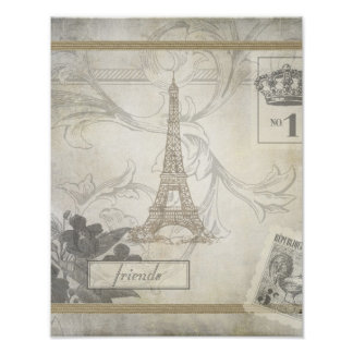 Shabby Chic Eiffel Tower Collage Print