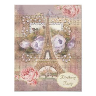 "Shabby Chic Eiffel Tower Floral Birthday Party 4.25"" X 5.5"" Invitation Card"