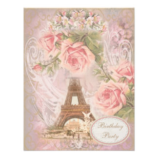 Shabby Chic Eiffel Tower Floral Birthday Party Personalized Invitations