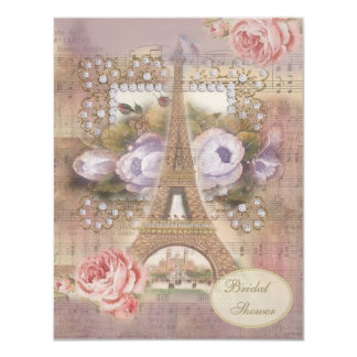 "Shabby Chic Eiffel Tower Floral Bridal Shower 4.25"" X 5.5"" Invitation Card"