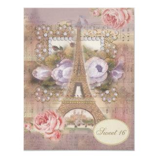 "Shabby Chic Eiffel Tower Floral Sweet 16 4.25"" X 5.5"" Invitation Card"