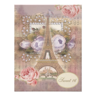 Shabby Chic Eiffel Tower Floral Sweet 16 Custom Invites