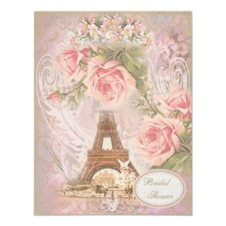"Shabby Chic Eiffel Tower Pink Floral Bridal Shower 4.25"" X 5.5"" Invitation Card"