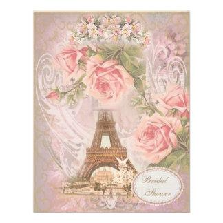 Shabby Chic Eiffel Tower Pink Floral Bridal Shower Custom Invites