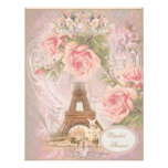Shabby Chic Eiffel Tower Pink Floral Bridal Shower Custom Invites