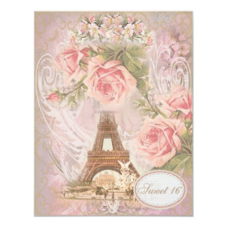 """Shabby Chic Eiffel Tower Pink Floral Sweet 16 4.25"""" X 5.5"""" Invitation Card"""