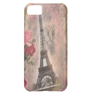 Shabby Chic Eiffel Tower Pink Roses Collage iPhone 5C Case