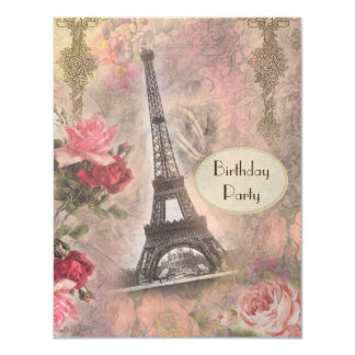 "Shabby Chic Eiffel Tower & Roses Birthday Party 4.25"" X 5.5"" Invitation Card"