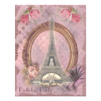 Shabby Chic Eiffel Tower Roses Birthday Party Invites