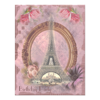 Shabby Chic Eiffel Tower & Roses Birthday Party Invites