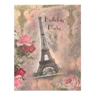 Shabby Chic Eiffel Tower & Roses Birthday Party Announcement