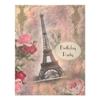 Shabby Chic Eiffel Tower Roses Birthday Party Custom Announcements