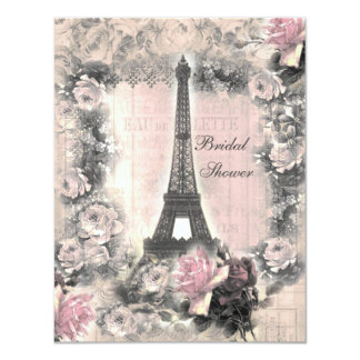 "Shabby Chic Eiffel Tower & Roses Bridal Shower 4.25"" X 5.5"" Invitation Card"