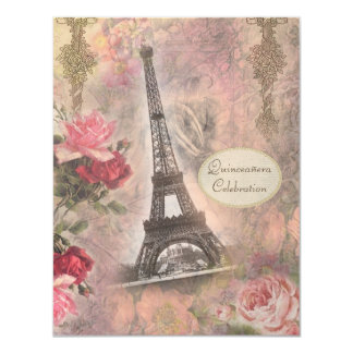 """Shabby Chic Eiffel Tower & Roses Quinceanera 4.25"""" X 5.5"""" Invitation Card"""