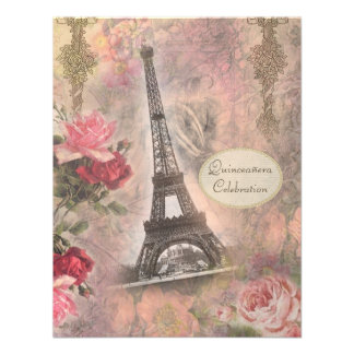 Shabby Chic Eiffel Tower & Roses Quinceanera Personalized Invite