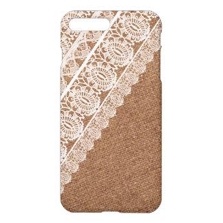 Shabby Chic Faux Burlap and Diagonal Lace iPhone 7 Plus Case