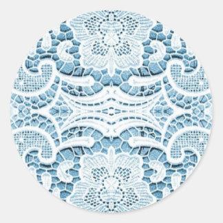 Shabby Chic Floral aqua blue bohemian chic lace Classic Round Sticker