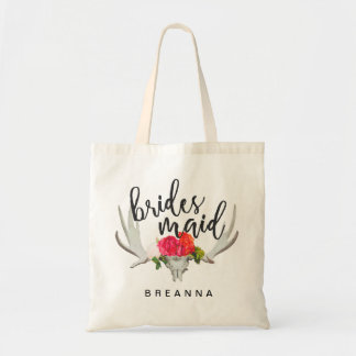 Shabby Chic Floral Deer Horn Bridesmaid Tote Bag