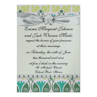 "shabby chic floral ornate damask 4.5"" x 6.25"" invitation card"