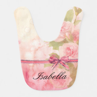 """""""Shabby Chic"""" Floral Personalized Baby Bib"""