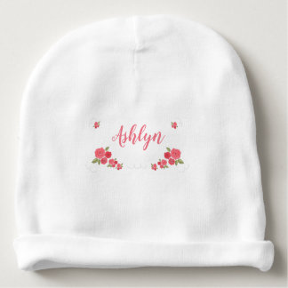 Shabby Chic Floral Pink White Flower Personalized Baby Beanie