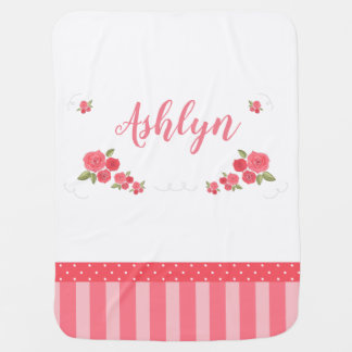 Shabby Chic Floral Pink White Flower Personalized Baby Blanket