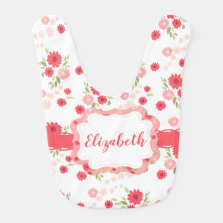 Shabby Chic Floral Pink White Flower Personalized Bib