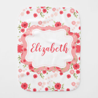 Shabby Chic Floral Pink White Flower Personalized Burp Cloth