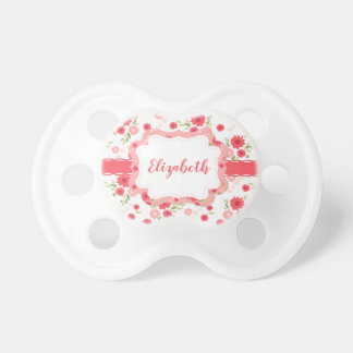 Shabby Chic Floral Pink White Flower Personalized Pacifier