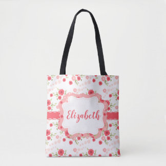 Shabby Chic Floral Pink White Flower Personalized Tote Bag
