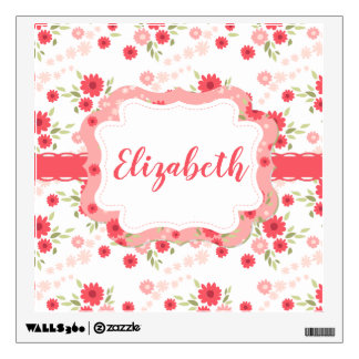 Shabby Chic Floral Pink White Flower Personalized Wall Sticker