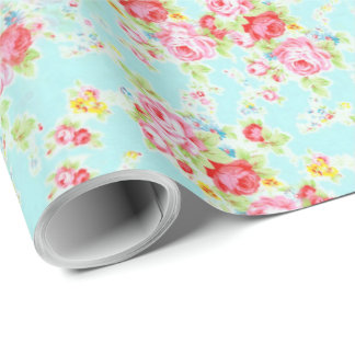 shabby chic floral rose wrapping paper