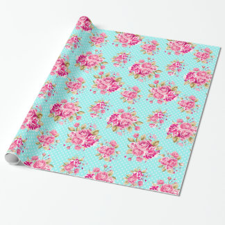 Shabby Chic Floral Roses Wrapping Paper