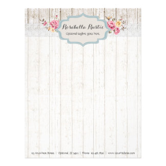 Shabby Chic Floral Rustic Wood & Vintage Lace Letterhead