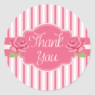 Shabby Chic Floral Thank You Pink Roses & Stripes Round Sticker