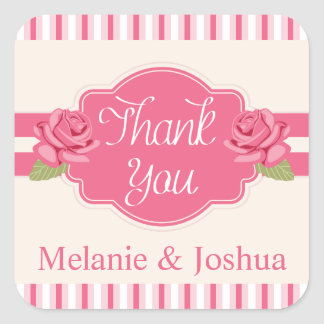 Shabby Chic Floral Thank You Pink Roses & Stripes Square Sticker