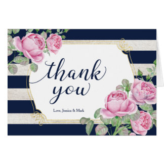 Shabby Chic Floral Wedding Thank you note card