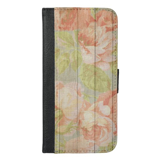Shabby Chic Floral Wood Grain