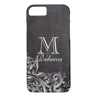 shabby chic flourish swirls chalkboard monogram iPhone 8/7 case