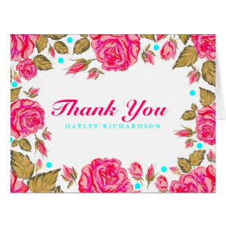 Shabby Chic Flower Thank You Card
