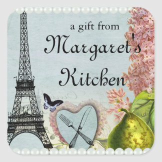 Shabby chic fork knife Eiffel tower gift tag label
