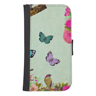 Shabby chic, french chic, vintage,floral,rustic,mi samsung s4 wallet case