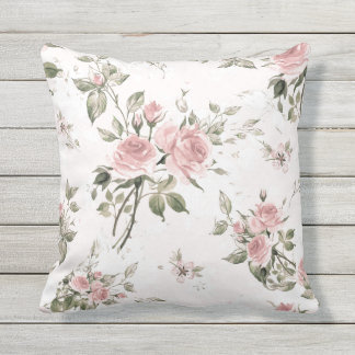 Shabby chic, french chic, vintage,floral,rustic,pi outdoor pillow