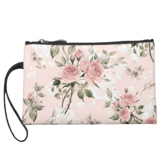 Shabby chic, french chic, vintage,floral,rustic,pi suede wristlet