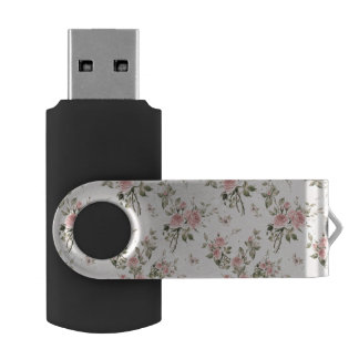 Shabby chic, french chic, vintage,floral,rustic,pi USB flash drive