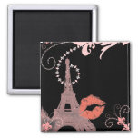 shabby chic girly paris pink eiffel tower square magnet